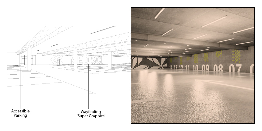 Wayfinding 'Super Graphics' and open views of the Arrivals Court will help orient users to their destination on Campus
