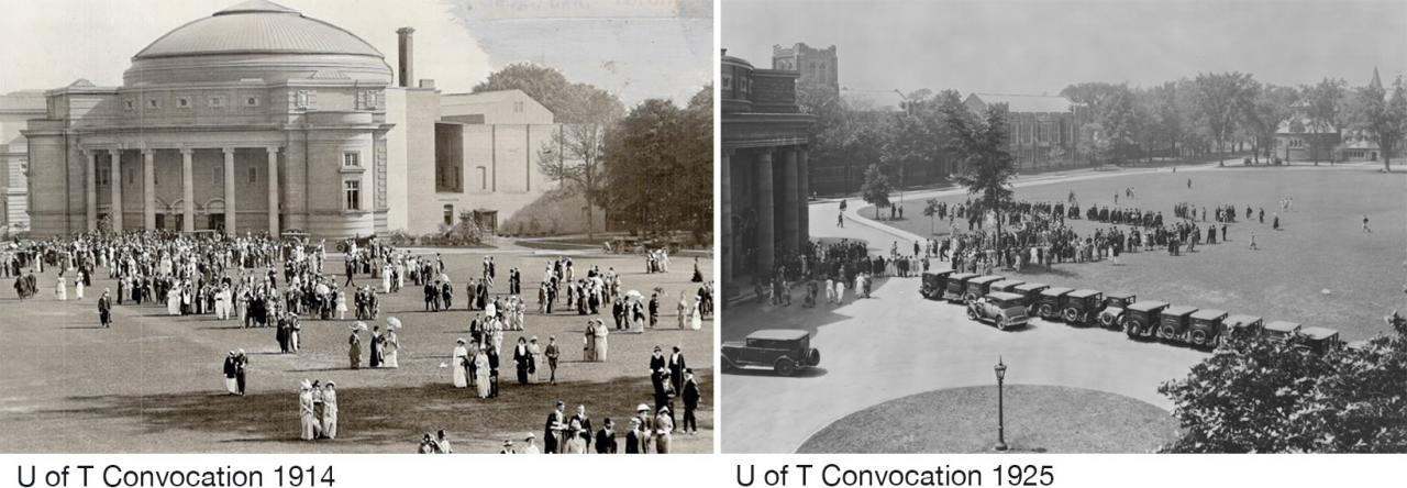 Graduates in Edwardian dress stroll across Front Campus in 1914. In 1925, a line of Model-T-type cars edges the same lawn.